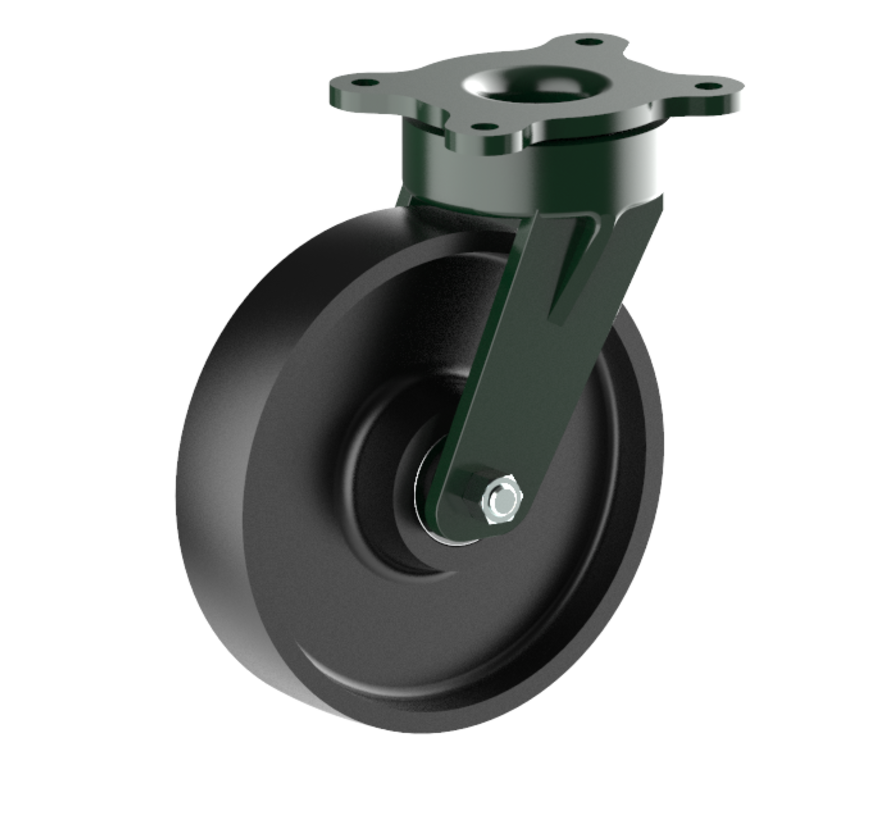 heavy duty Swivel castor + solid cast iron wheel Ø200 x W50mm for  1100kg Prod ID: 56200
