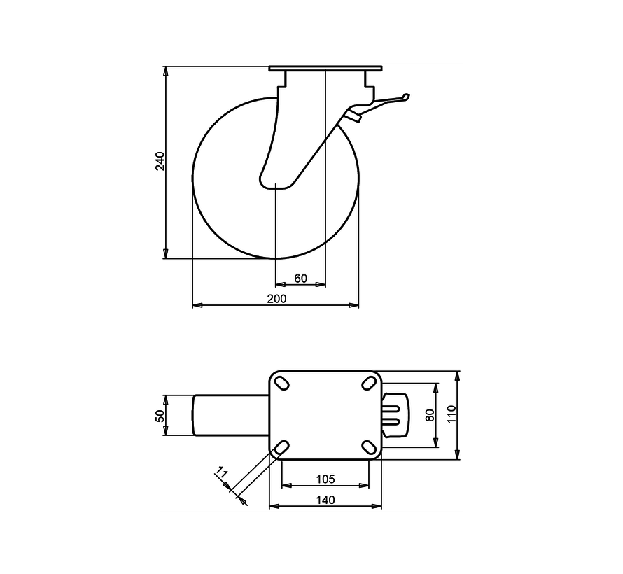 heavy duty Swivel castor with brake + solid polyamide wheel Ø200 x W50mm for  500kg Prod ID: 42583