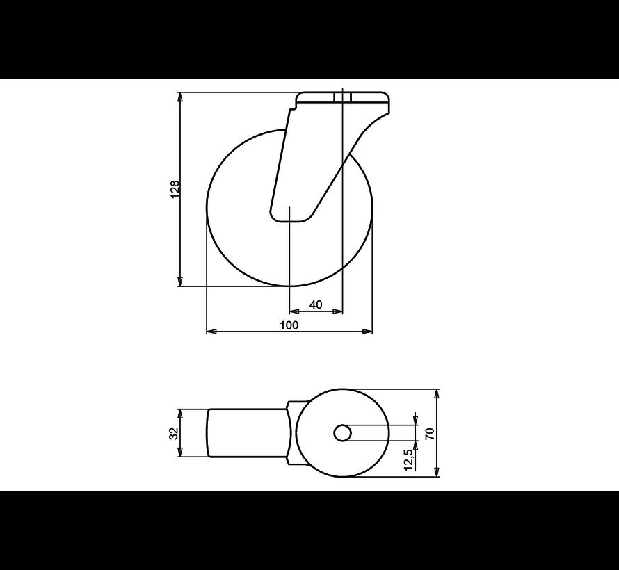 standard Swivel castor + injection-moulded polyurethane tread Ø100 x W32mm for  150kg Prod ID: 41155