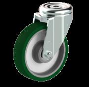 LIV SYSTEMS Swivel castor + injection-moulded polyurethane tread Ø125 x W32mm for 200kg