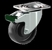 LIV SYSTEMS vrtljivo kolo z zavoro + trdno polipropilensko kolo Ø100 x W38mm Za 200kg