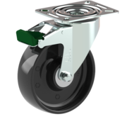 LIV SYSTEMS Swivel castor with brake + solid polyamide wheel Ø125 x W35mm for 250kg