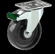 LIV SYSTEMS vrtljivo kolo z zavoro + trdno poliamidno kolo Ø125 x W35mm Za 250kg