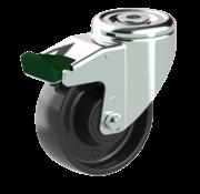 LIV SYSTEMS Swivel castor with brake + solid polypropylene wheel Ø100 x W35mm for 125kg