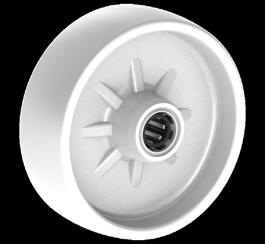 standard wheel + solid polypropylene wheel Ø108 x W36mm for  150kg Prod ID: 91402