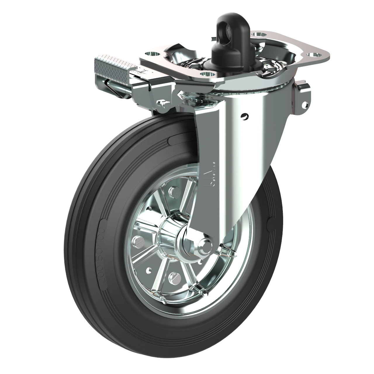 Container castor with central brake. The cam connects to the brake rod and offers easy braking and release.