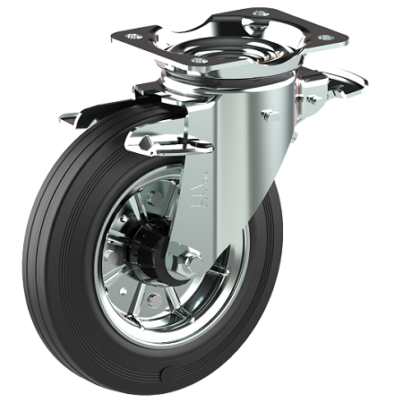 """360 degree brake system. """"the 3 stop"""" for waste bin conatiners"""