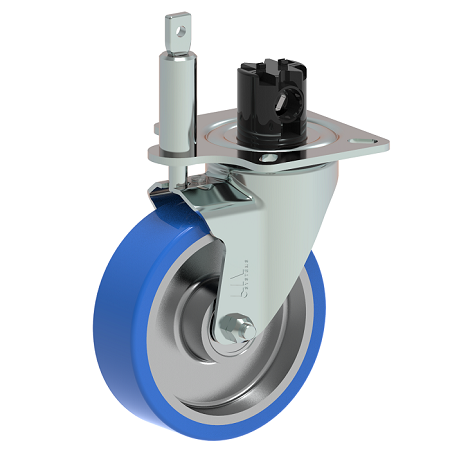 central brake castor wheel with directional lock system