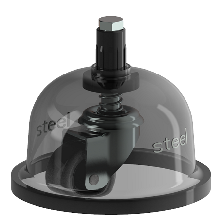 Dome protection for spring loaded castor wheel
