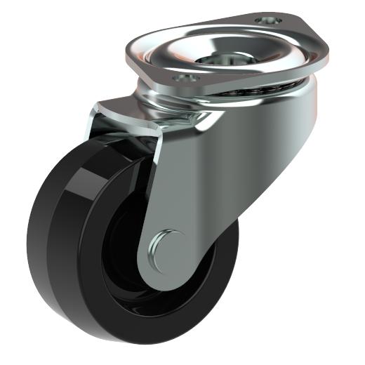 Oval top plate castor wheel