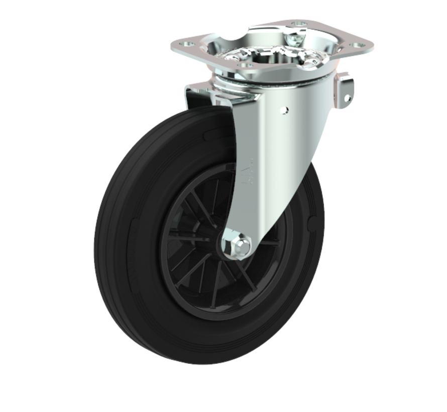 waste bin castors Swivel castor + black rubber tyre Ø160 x W40mm for  200kg Prod ID: 44336