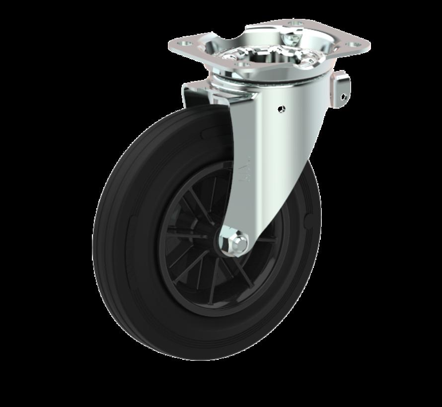 waste bin castors Swivel castor + black rubber tyre Ø200 x W50mm for  250kg Prod ID: 44761