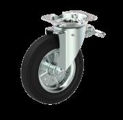 LIV SYSTEMS vrtljivo kolo z zavoro + črna guma Ø200 x W50mm Za 250kg