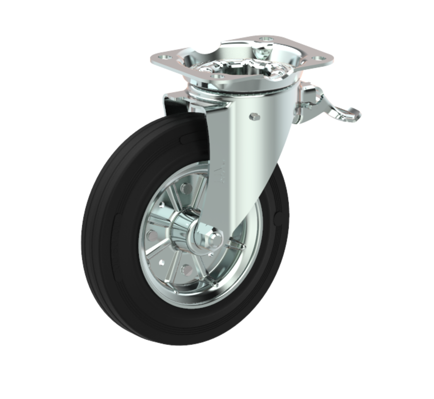 waste bin castors Swivel castor with brake + black rubber tyre Ø200 x W50mm for  250kg Prod ID: 44343