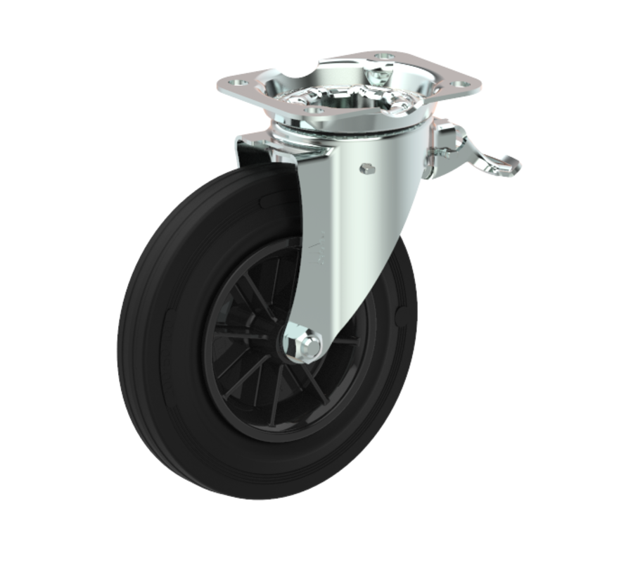 waste bin castors Swivel castor with brake + black rubber tyre Ø160 x W40mm for  200kg Prod ID: 44781