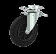LIV SYSTEMS Swivel castor with brake + black rubber tread Ø200 x W50mm for 250kg
