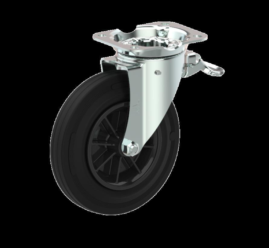waste bin castors Swivel castor with brake + black rubber tyre Ø200 x W50mm for  250kg Prod ID: 44762