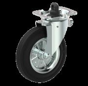 LIV SYSTEMS vrtljivo kolo z zavoro + črna guma Ø160 x W40mm Za 200kg