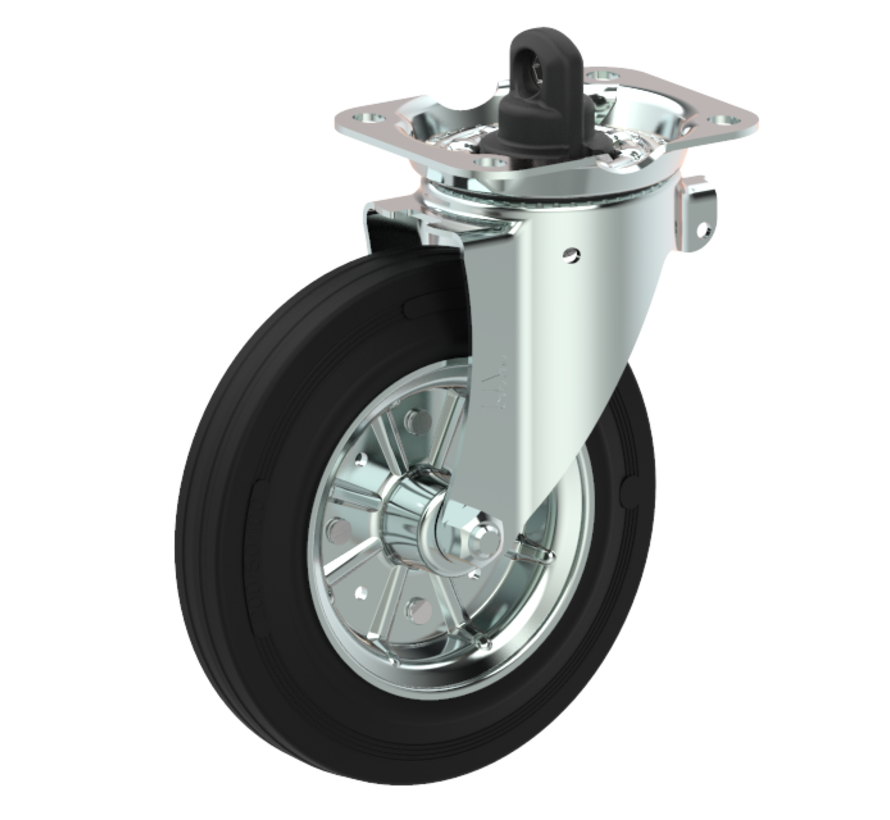 waste bin castors Swivel castor with brake + black rubber tyre Ø200 x W50mm for  250kg Prod ID: 44794