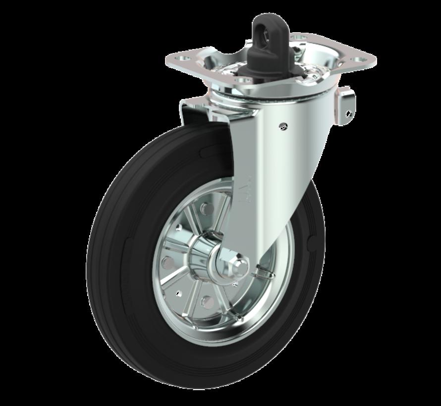 waste bin castors Swivel castor with brake + black rubber tyre Ø200 x W50mm for  250kg Prod ID: 44345