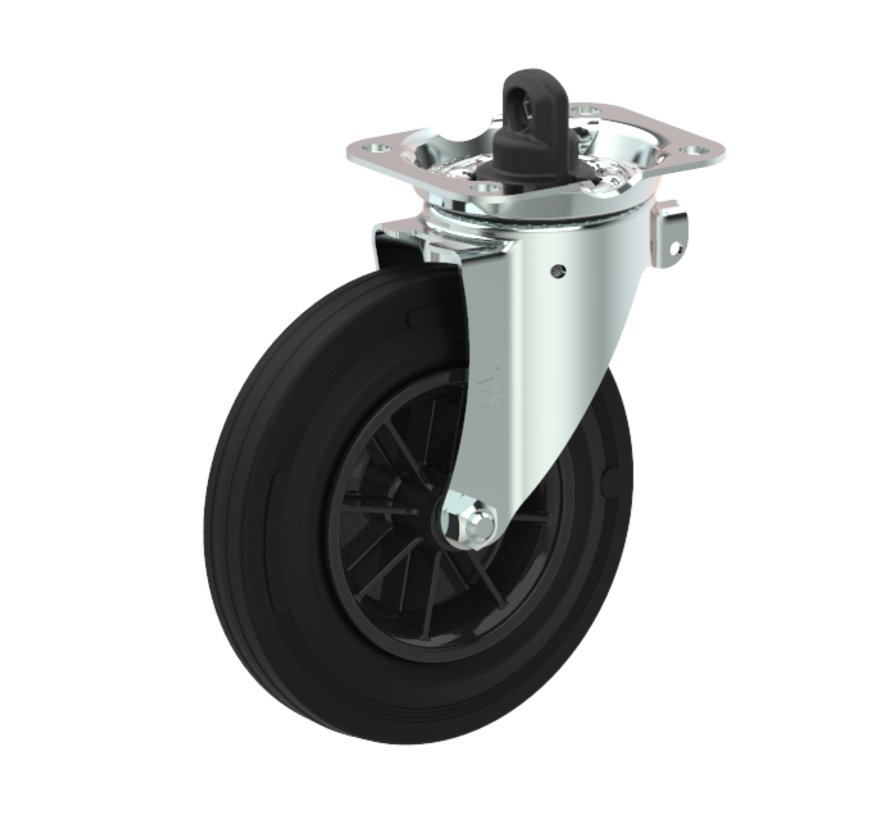 kolesa za komunalne zabojnike vrtljivo kolo z zavoro + črna guma Ø160 x W40mm Za  200kg Prod ID: 44789