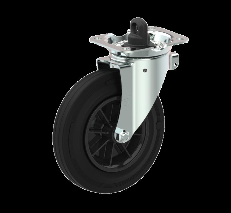 waste bin castors Swivel castor with brake + black rubber tyre Ø200 x W50mm for  250kg Prod ID: 44763