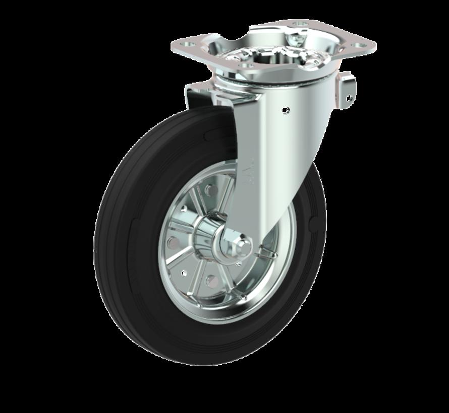 waste bin castors Swivel castor with brake + black rubber tyre Ø160 x W40mm for  200kg Prod ID: 44335