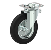 LIV SYSTEMS Swivel castor + black rubber tread Ø200 x W50mm for 250kg