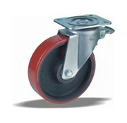 LIV SYSTEMS Swivel castor with brake + injection-moulded polyurethane tread Ø200 x W50mm for 1000kg