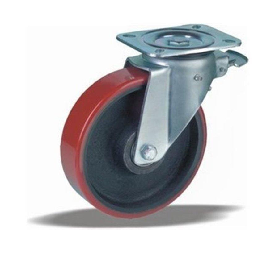 za težje delovne pogoje vrtljivo kolo z zavoro + brizgana poliuretanska obloga  Ø200 x W50mm Za  1000kg Prod ID: 42455