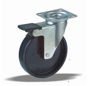 LIV SYSTEMS Swivel castor with brake + solid polypropylene wheel Ø100 x W25mm for 80kg