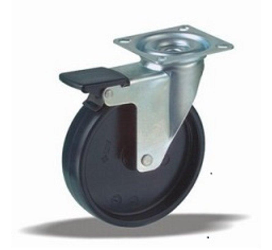 furniture Swivel castor with brake + solid polypropylene wheel Ø100 x W25mm for  80kg Prod ID: 35135