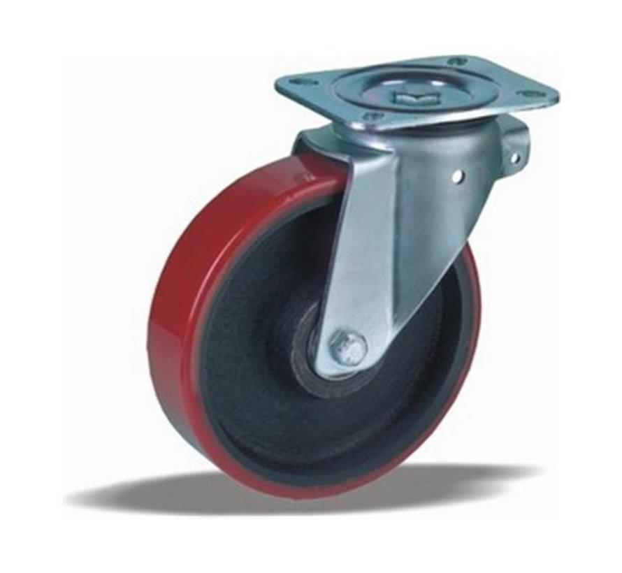 heavy duty Swivel castor + injection-moulded polyurethane tread Ø160 x W50mm for  600kg Prod ID: 42445