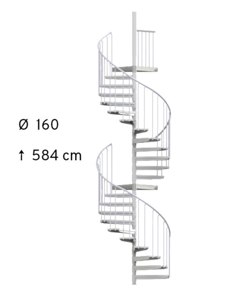 SCALANT Außentreppe SCARVO L 160 mit WPC Treppenstufenbelag & Aluminium Verbindungsset