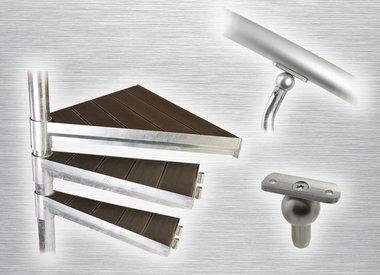 Spindeltreppen aus Stahl mit Aluminium Set & WPC