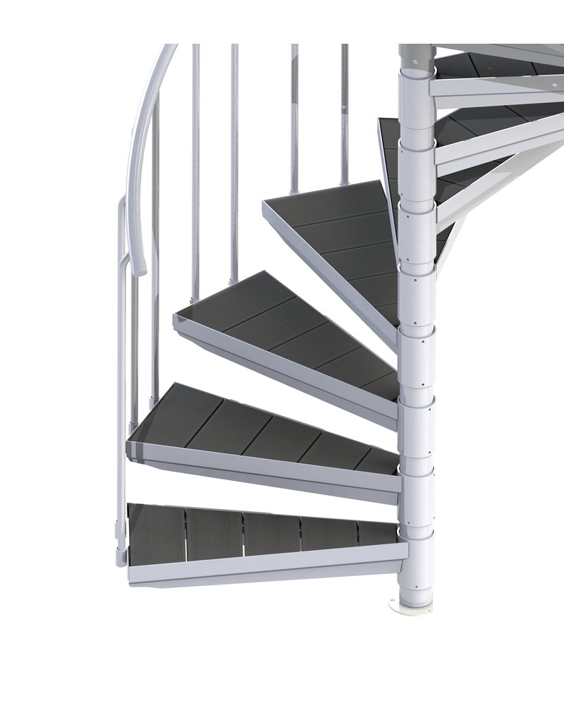 Außenspindeltreppe SCARVO L 160 mit WPC Treppenstufenbelag