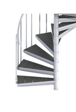 Außenspindeltreppe SCARVO M 160 mit WPC Treppenstufenbelag