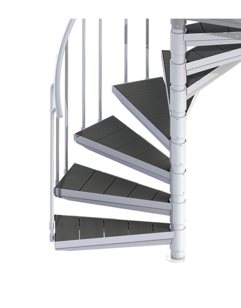 SCALANT Außenspindeltreppe SCARVO XL 160 mit WPC Treppenstufenbelag