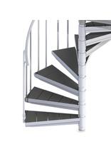 Außentreppe SCARVO L 160 mit WPC Treppenstufenbelag & Aluminium Verbindungsset