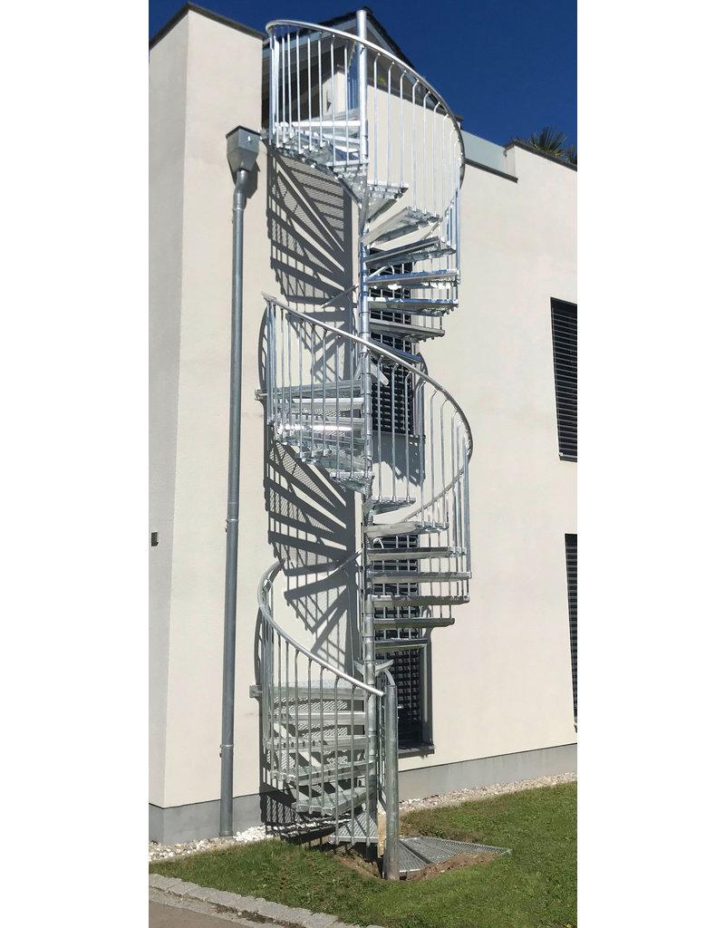 SCALANT Außentreppe SCARVO XL 160 mit WPC Treppenstufenbelag & Aluminium Verbindungsset