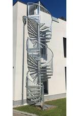 SCALANT Außenspindeltreppe SCARVO XXL 160 mit WPC Treppenstufenbelag