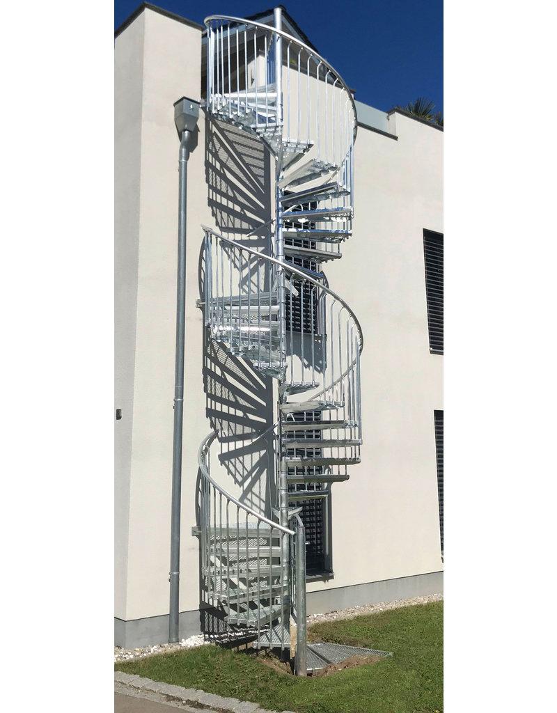 SCALANT Außenspindeltreppe SCARVO XXL 160 mit WPC Treppenstufenbelag & Aluminium Set
