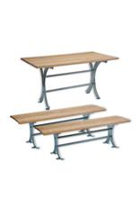 SCALANT Sitzgruppe Garten Tisch FORST 150 + 2 x Sitzbank FORST 150
