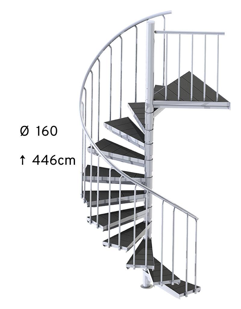 SCALANT Außenspindeltreppe SCARVO M 160 mit WPC Treppenstufenbelag