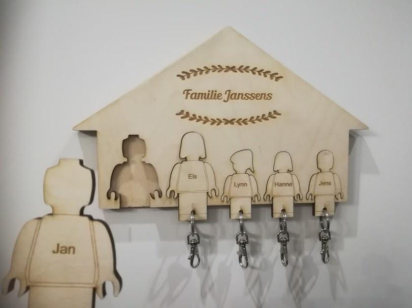 Sleutelrek huisje met sleutelhangers