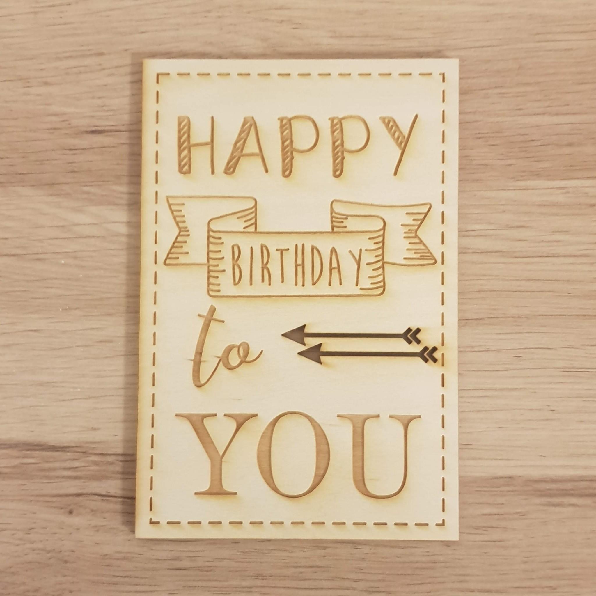 Kaart happy Birthday Pijlen