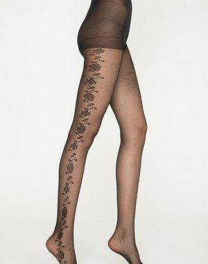 Penti Zwarte panty met print van klimop