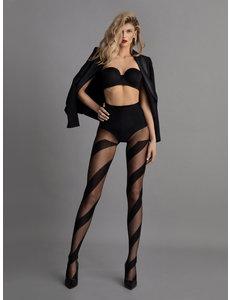 Fiore Zwarte panty met strepen - 20 DEN
