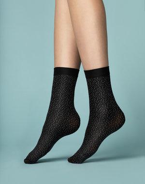 Fiore Zwarte sok met witte mini stipjes van 40 denier