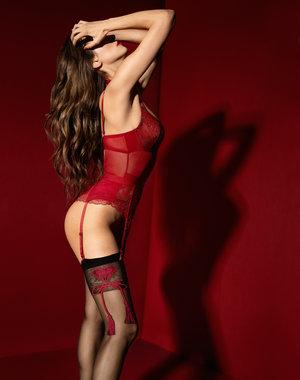 Fiore Zwarte stocking met rood hart